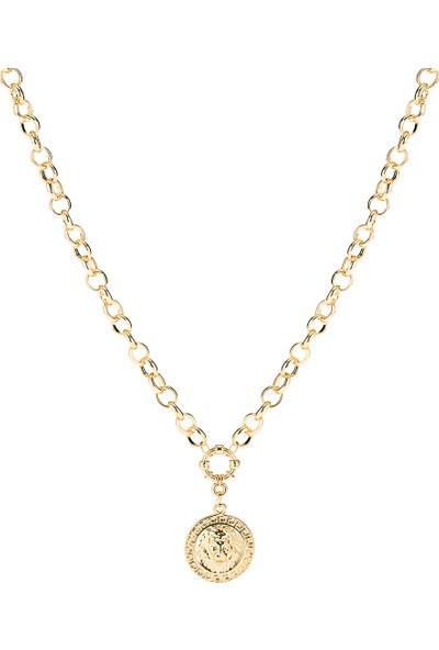 Miniso Altın Dokulu Madalyonlu Zincir Kolye