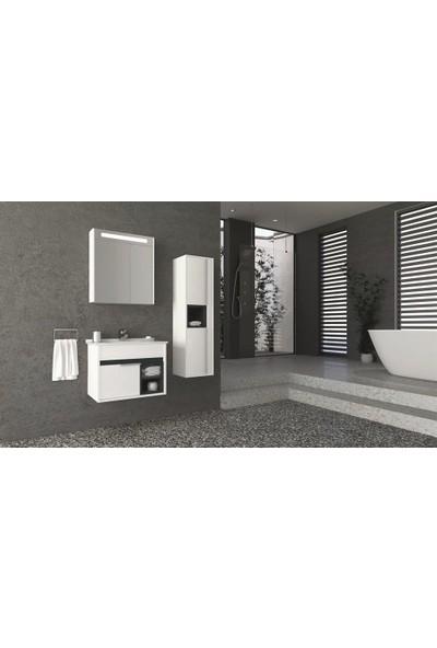 Netdeko Napoli 65 cm Banyo Dolabı Beyaz Antrasit Boy Dolabı Hariç