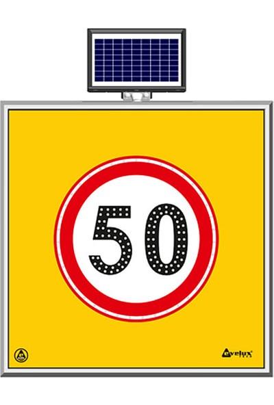 İlgi Trafik Güneş Enerjili Ledli Azami Hız Sınırlaması 50 km Yol Bakım Trafik Uyarı Levhası
