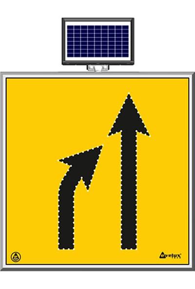 İlgi Trafik Güneş Enerjili Ledli Soldan Sağa Daralan Yol Trafik Bakım Uyarı Levhası