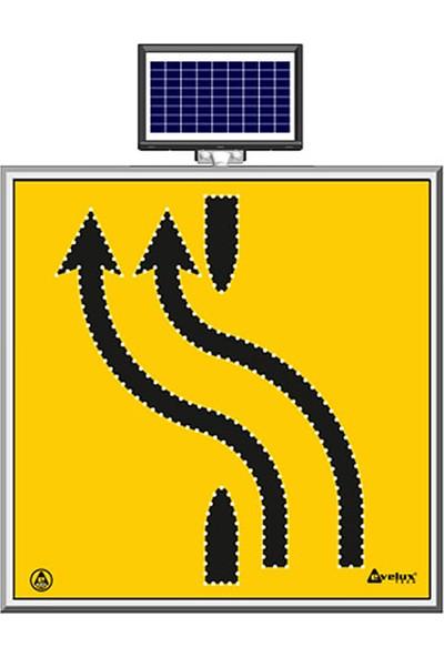 İlgi Trafik Güneş Enerjili Ledli Şerit Aktarım Sağdan Sola Çift Trafik Yol Bakım Uyarı Levhası