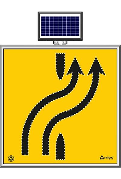 İlgi Trafik Güneş Enerjili Ledli Şerit Aktarım Soldan Sağa Çift Trafik Yol Bakım Uyarı Levhası