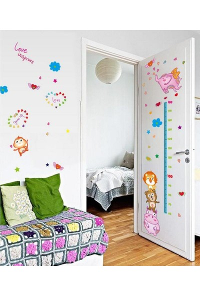 Crystal Kids Bebek ve Çocuk Odası Boy Ölçer Hayvan Dostlar Duvar Çıkartması