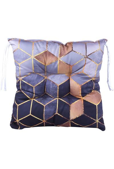 Dncstore Dijital Baskılı Granit Desenli Kare Sandalye Minderi 40 x 40 cm