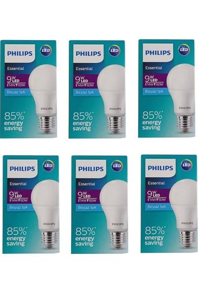Philips Ess Ledbulb 9W-60W E27 Normal Duy Beyaz Işık- 6 Adet