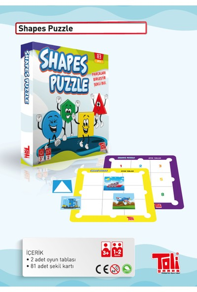Toli Games Shapes Puzzle Parça Birleştirme Zeka Oyunu