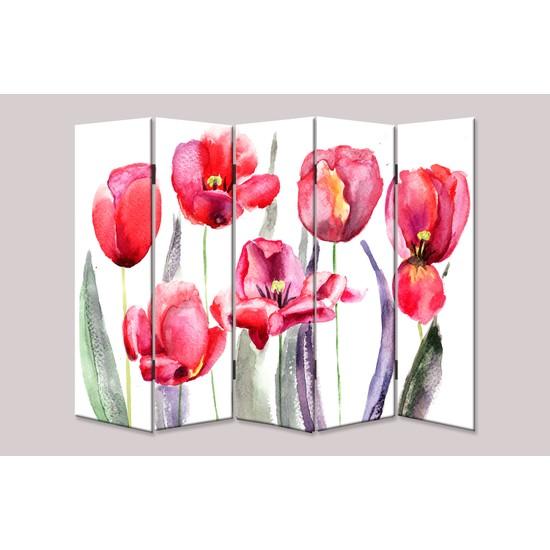 Dekoyes Kırmızı Çiçekler 5 Kanat Kanvas Tekerlekli Paravan