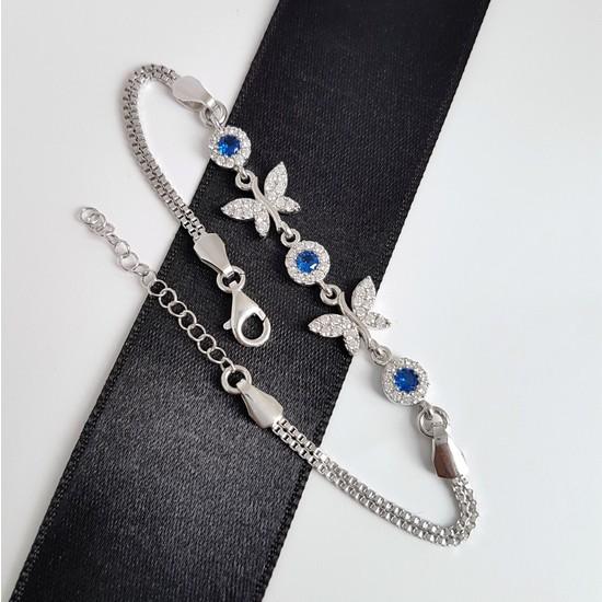 Gümüş Pazarım Safir Taşlı Kelebek Motifli Gümüş Bileklik-
