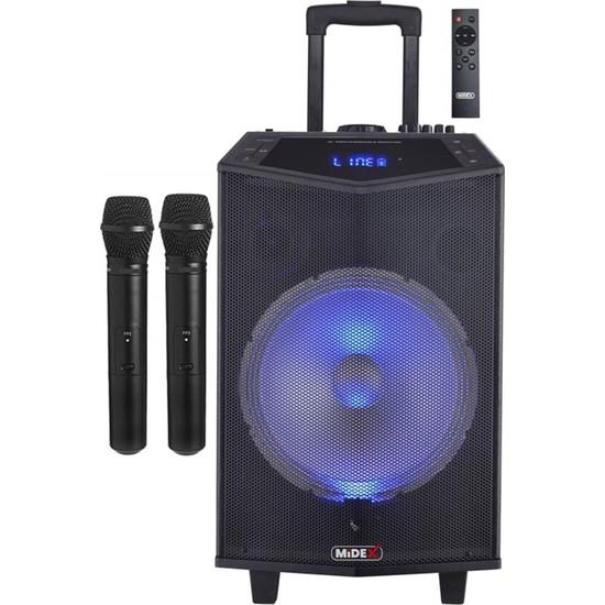 Midex MXR-1000 Taşınabilir Seyyar Mikrofonlu Akülü Ses Sistemi Hoparlör 1000 Watt