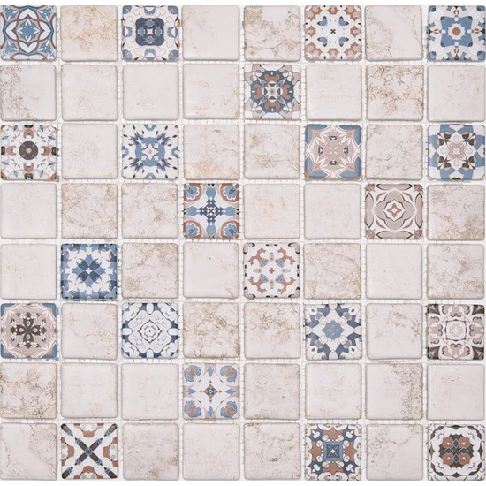 Livea Eskitme Tarzı 38 x 38 Desenli Cam Mozaik Mat LDJ15 ( M2 )
