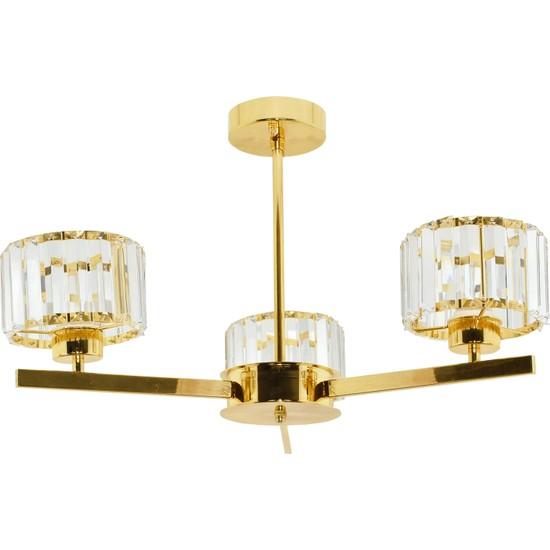 Çakır Aydınlatma Venüs 3 Kollu Kristal Taşlı Sarı Gold Sarkıt Avize