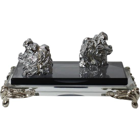 Ikiyıldız Kristal AS109 Masaüstü Gümüş Çift Aslan Başlı Kristal Kartvizitlik