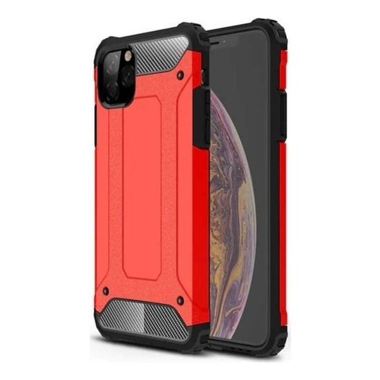 Herdem Apple iPhone 11 Pro Kılıf Çift Katmanlı Zırh Kırmızı