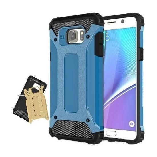 Herdem Samsung Galaxy Note 5 Kılıf Çift Katmanlı Zırh Mavi