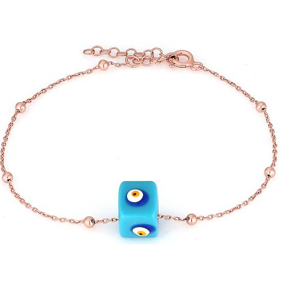 Azuris 925 Ayar Gümüş Toplu Zincir Mavi Boncuk Bileklik