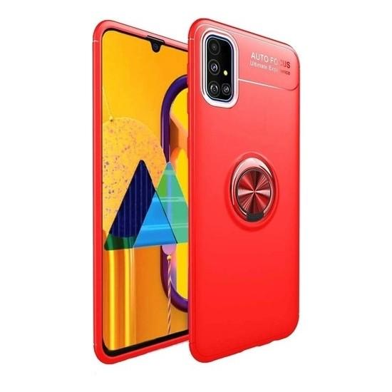 Herdem Samsung Galaxy A51 Kılıf Yüzüklü Mıknatıslı Silikon Kırmızı