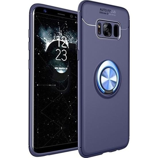 Herdem Samsung Galaxy S8 Kılıf Yüzüklü Mıknatıslı Silikon Lacivert
