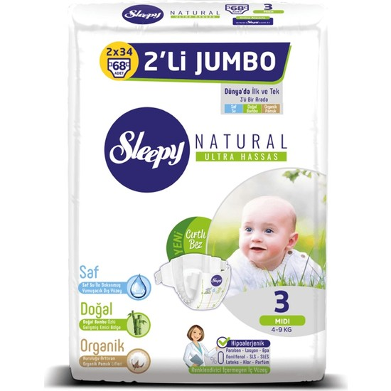 Sleepy Natural 3 Numara Midi 2'li Jumbo 68 Adet Bebek Bezi