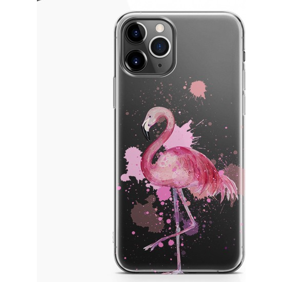 Kılıfland Apple iPhone 11 Pro Kılıf Silikon Resimli Kapak Watercolor Flamingo -Stok 617