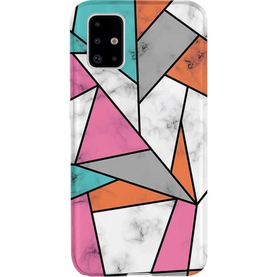 Kılıfland Samsung Galaxy A51 Kılıf A515F Silikon Resimli Kapak Colorful Marble Mermer -Stok 976