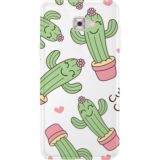 Kılıfland Samsung Galaxy C5 Pro Kılıf Silikon Desenli Resimli Lüx Kapak Cactus Love -Stok 881