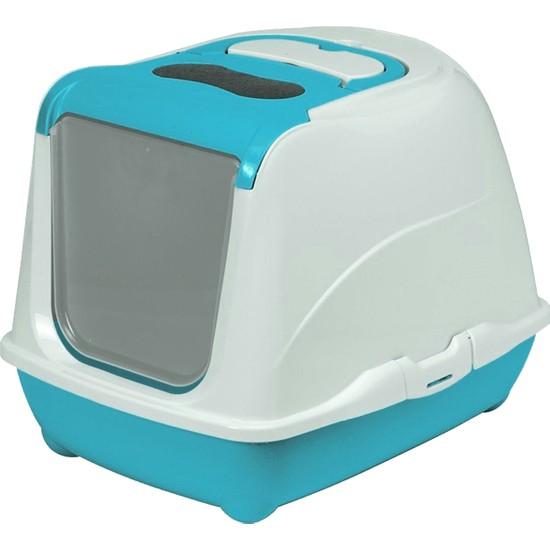 Moderno Flip Turkuaz Kapalı Kedi Tuvalet Kabı - 50 cm