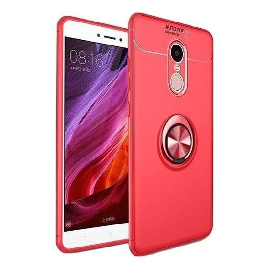 Herdem Xiaomi Redmi Note 4X Kılıf Yüzüklü Mıknatıslı Silikon Kırmızı