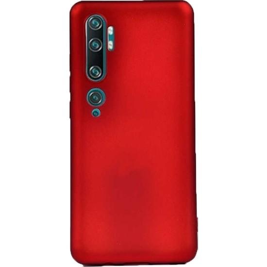 Herdem Xiaomi Mi Note 10 Kılıf Ultra Lüx Soft Mat Silikon Kırmızı