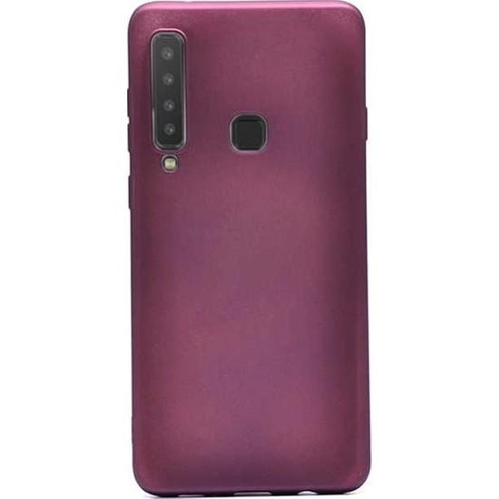 Herdem Samsung Galaxy A9 2018 Kılıf Ultra Lüx Soft Mat Silikon Bordo
