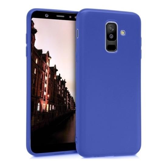 Herdem Samsung Galaxy A6 Plus 2018 Kılıf Ultra Lüx Soft Mat Silikon Lacivert
