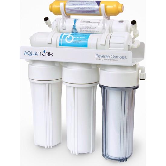 Aquatürk Tezgah Altı Açık Kasa Su Arıtma Cihazı 6 Aşamalı Pompasız