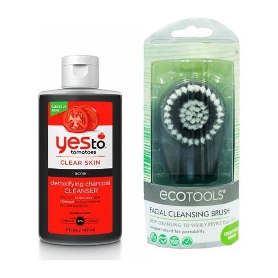 Yes To Akneli Cilt Kömür Özlü Yüz Temizleme Jeli 147 Ml+Eco Tools Facial Cleansing Brush Yüz Temizleme Fırçası