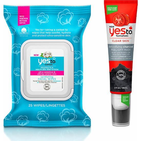 Yes To Pamuk Rahatlatıcı Yüz Temizleme Mendili 25 Adet+Soyulabilir Maske 59 ml
