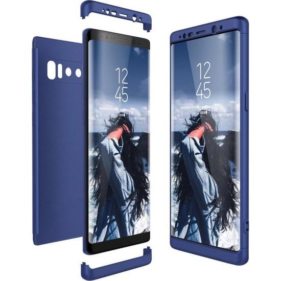 Herdem Samsung Galaxy Note 8 Kılıf 360 Derece Tam Koruma Sert Rubber Mavi
