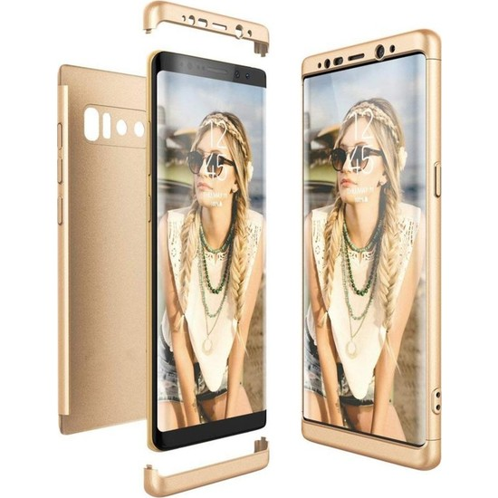 Herdem Samsung Galaxy Note 8 Kılıf 360 Derece Tam Koruma Sert Rubber Gold