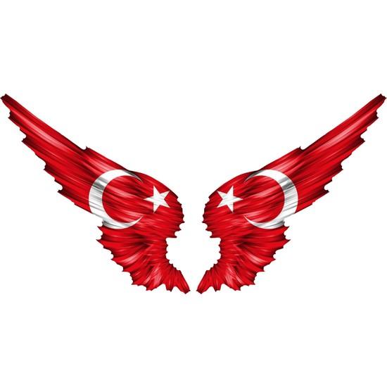Sticker Fabrikası Kanatlı Türk Bayrağı Sticker - 00002
