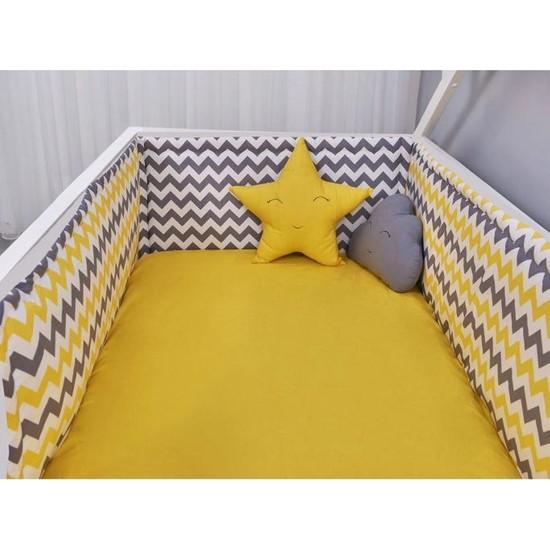 Odeon Çocuk Yatak Yan Kenar Koruma Montessori Sarı Zigzaglı 100 x 200 cm