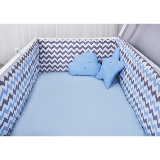 Odeon Çocuk Yatak Yan Kenar Koruma Montessori Mavi Zigzaglı 90 x 190 cm