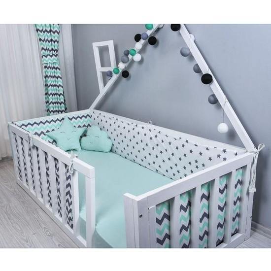 Odeon Çocuk Yatak Yan Kenar Koruma Montessori Yeşil Yıldızlı 90 x 190 cm