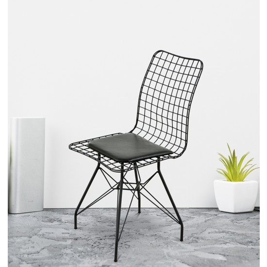Hepsi Home Siyah Tel Sandalye
