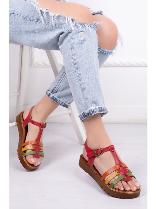 Tarçın Deri Günlük Kırmızı Kadın Sandalet Ayakkabı Trc61-0092