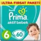 Prima Bebek Bezi Aktif Bebek 6 Beden 60 Adet Ultra Fırsat Paketi