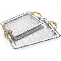 Dalgıç 2'li Dikdörtgen Tepsi Gümüş