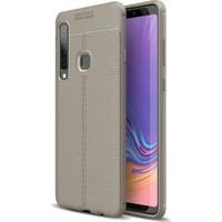 Herdem Samsung Galaxy A9 2018 Kılıf Deri Görünümlü Silikon Kapak Gri