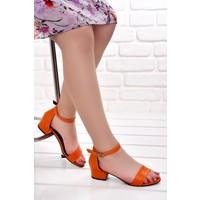 Ayakland 352 05 Cilt 3 Cm Topuk Kadın Sandalet Ayakkabı Turuncu
