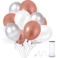 Kullan At Party Beyaz-Rose Gold-Gümüş Metalik Sedefli Balon