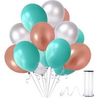 Kullan At Party Mint Su Yeşili-Gümüş-Rose Gold Metalik Sedefli Balon