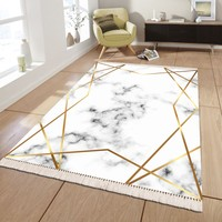 Evdemio Sade Desen Krem Renk Halı Mermer Desen Gold Hs-289