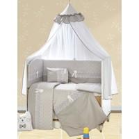 Aras Bebe 70 x 130 cm Güpürlü Uyku Seti - Gri Pamuklu Ebrar Model