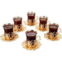 Busem Ahsen Çay Seti 6 Kişilik 18 Parça Altın Renkli